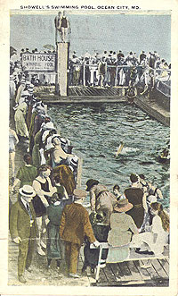 historical photo of crowd around showell swimming pool