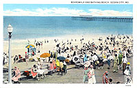 historical photo of crowded Ocean City boardwalk and beach