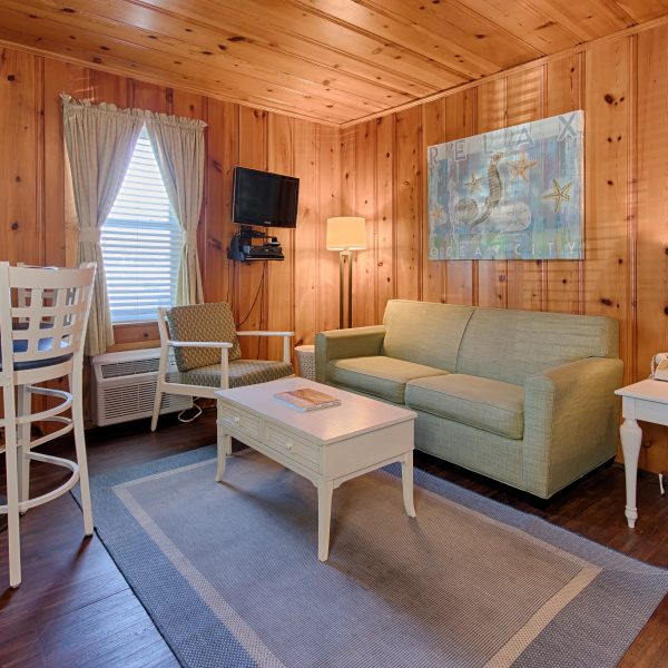 cottage living room with high top dining, couch, coffee table, and cushioned seat