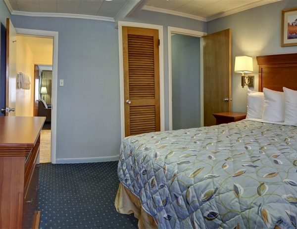 hotel room with queen bed and tv