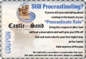 procrastinate coupon 50% off reservations after 5pm