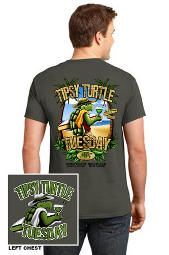 Mens-Olive-Tipsy-Turtle-Tee-Shirt