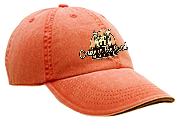 CASTLE HAT LOGO SAND CASTLE MOCK UP EMBROIDERY-Tangerine