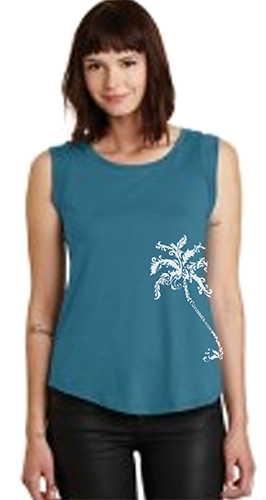 CASTLE LADIES PALM SIDE PRINT-peacock