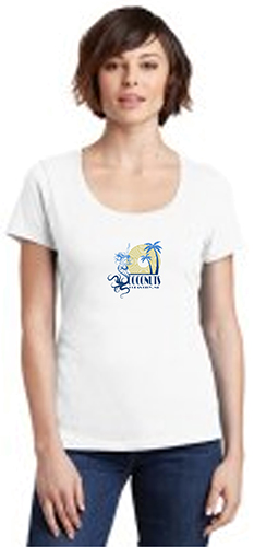 Castle abstract mermaid sun palms mock up-white