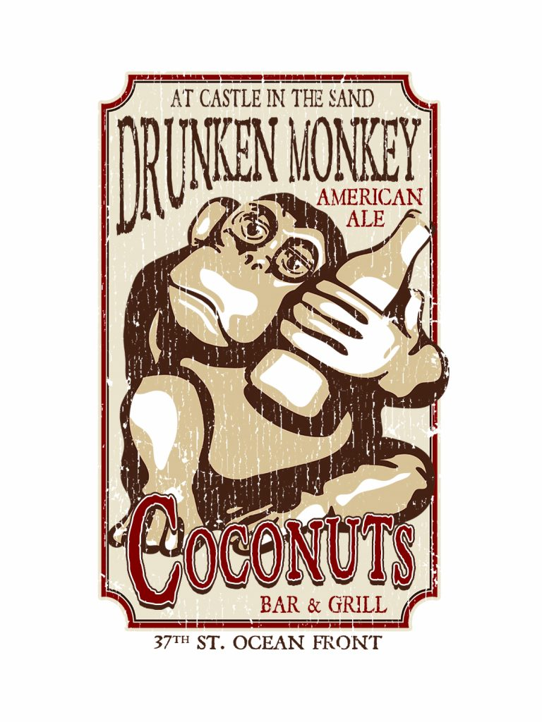 Coconuts Wooden Drunken Monkey Left Chest