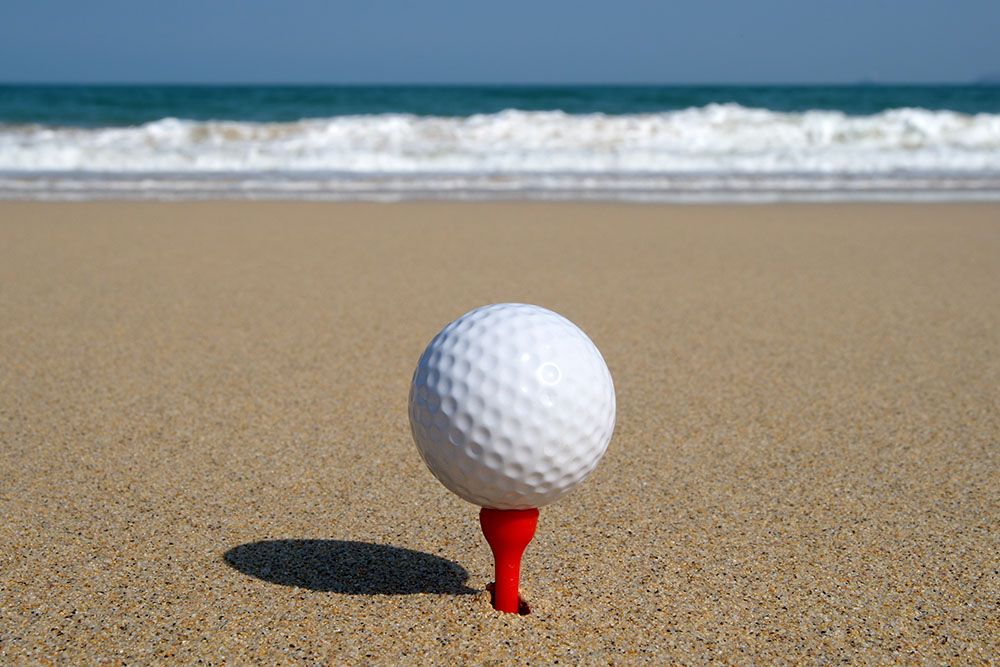 Golf ball at the beach